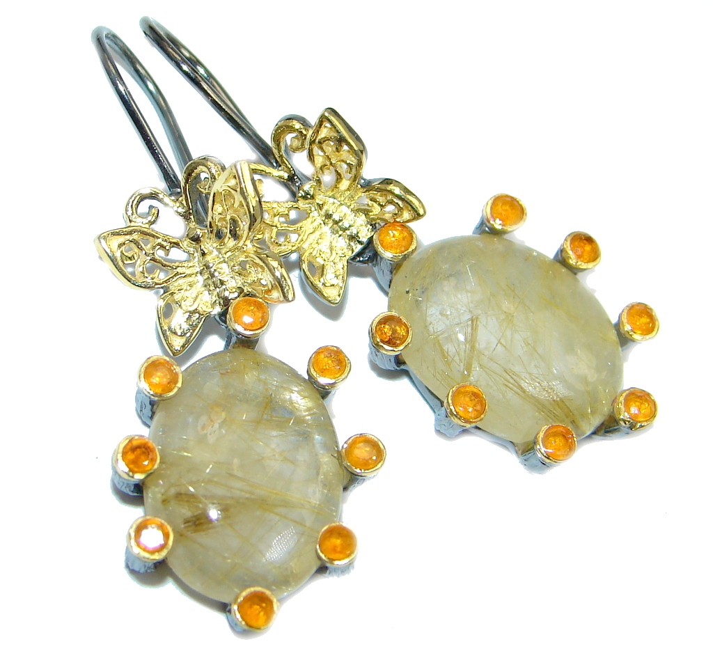 Perfect Golden Rutilated Quartz Sapphire Gold plated over Sterling Silver handmade earrings