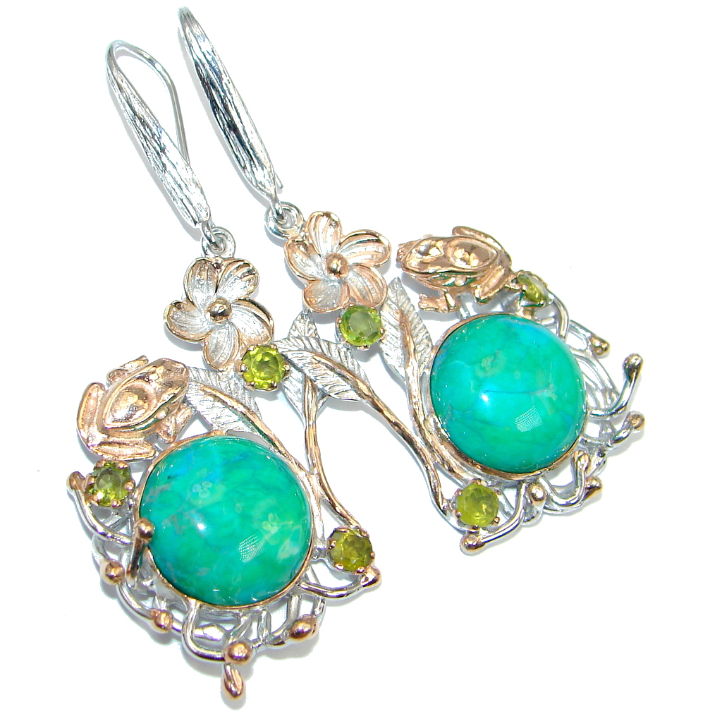 Golden Frogs Parrot's Wing Chrysocolla Peridot Gold plated over Sterling Silver earrings