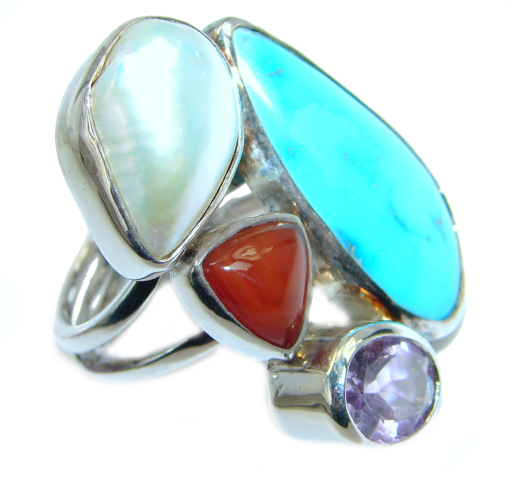 Huge Sleeping Beauty Turquoise Sterling Silver Ring size adjustable