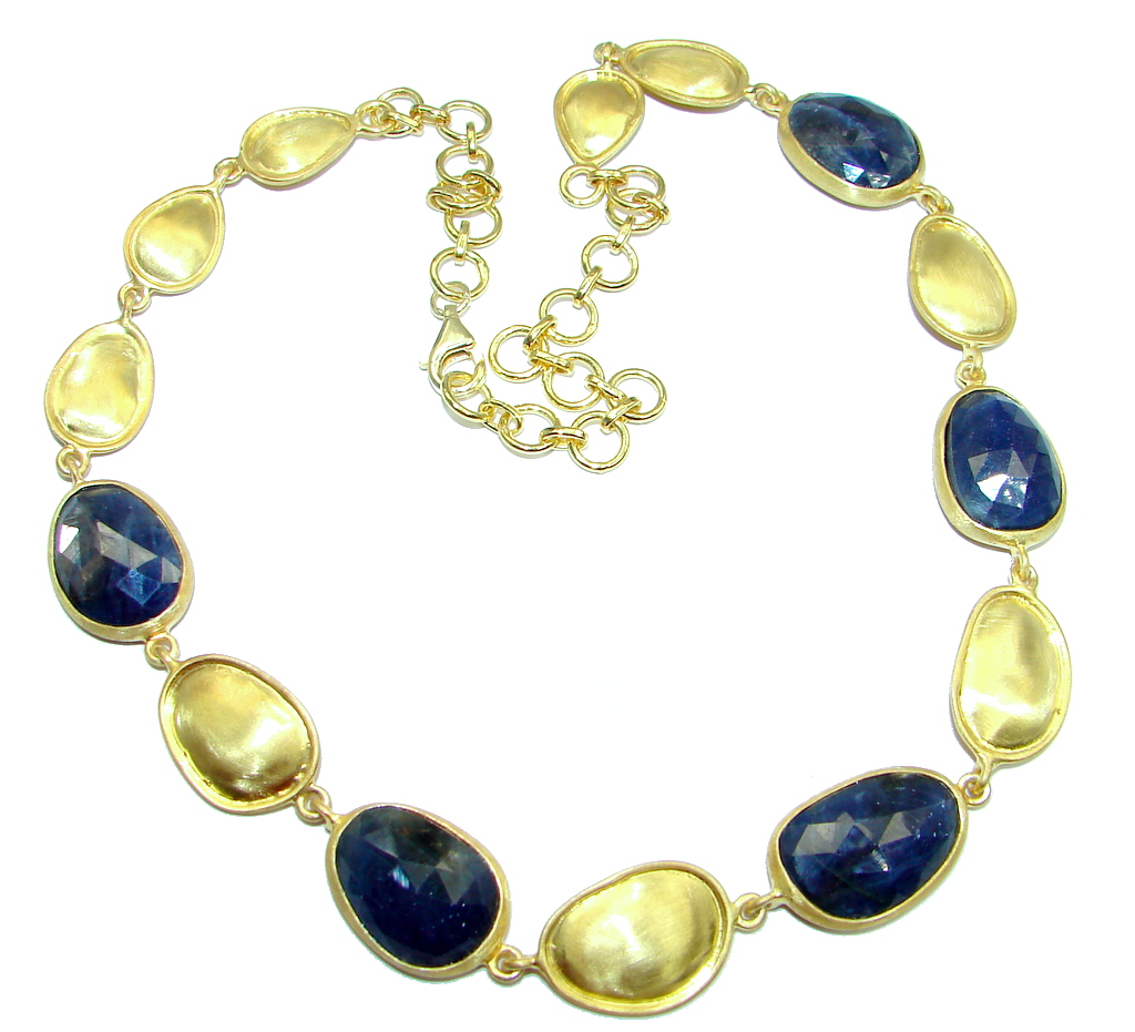 Elegant natural Sapphire Gold over Sterling Silver handmade necklace