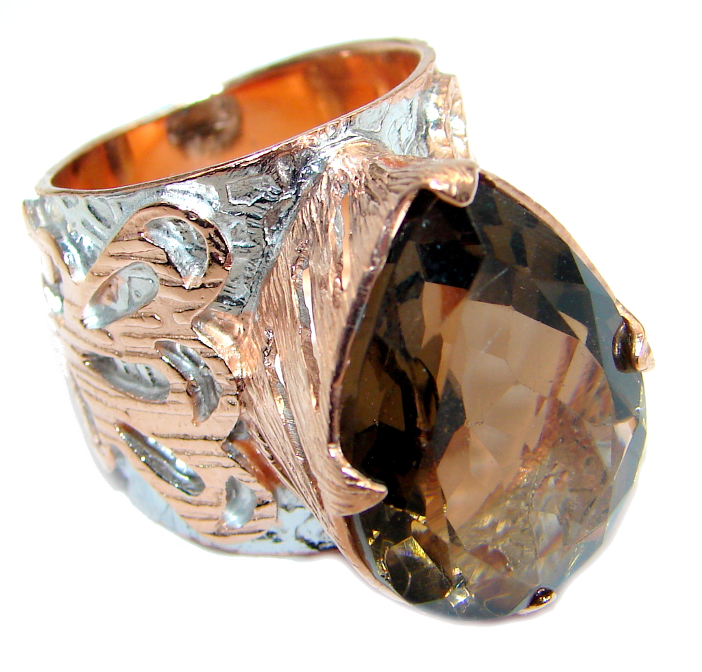 Amazing Genuine Smoky Topaz Rose Gold plated over Sterling Silver ring size 6
