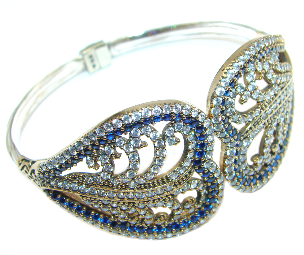 Victorian Style Created Sapphire & White Topaz copper covered Sterling Silver Bracelet / Cuff