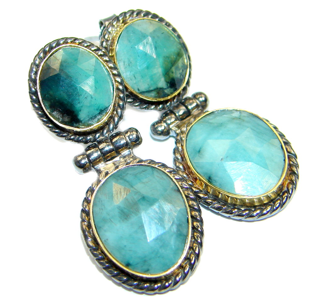 Trendy Fashion Emerald Gold Rhodium plated over Sterling Silver handmade  ea..