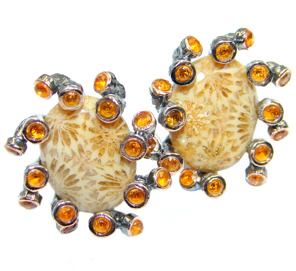Great Fosillized Coral Citrine  Gold plated over Sterling Silver  stud earri..