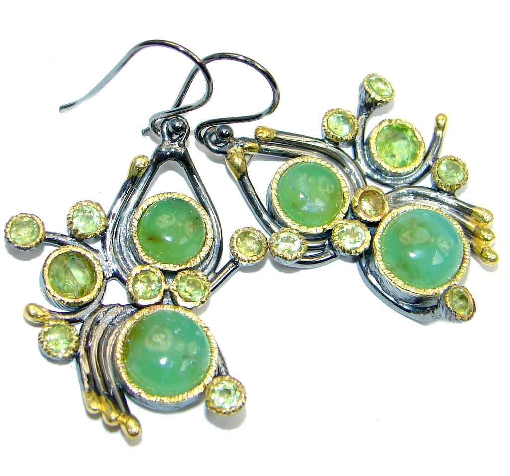 Authentic Moss Prehnite Peridot Gold Rhodium plated over Sterling Silver earrings
