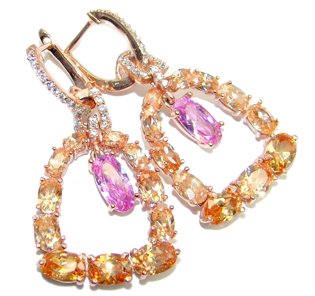 Handcrafted Pink and Golden Topaz Rose Gold plated over Sterling Silver earrings