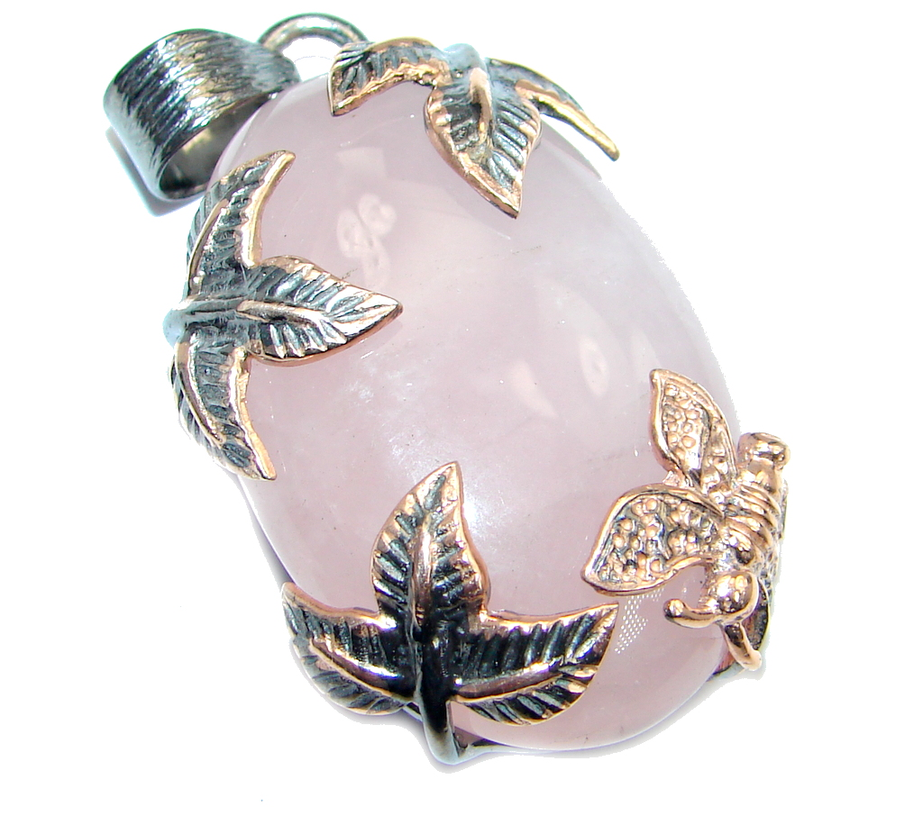Vintage Style Rose Quartz Gold lated over Sterling Silver handmade  Pendant