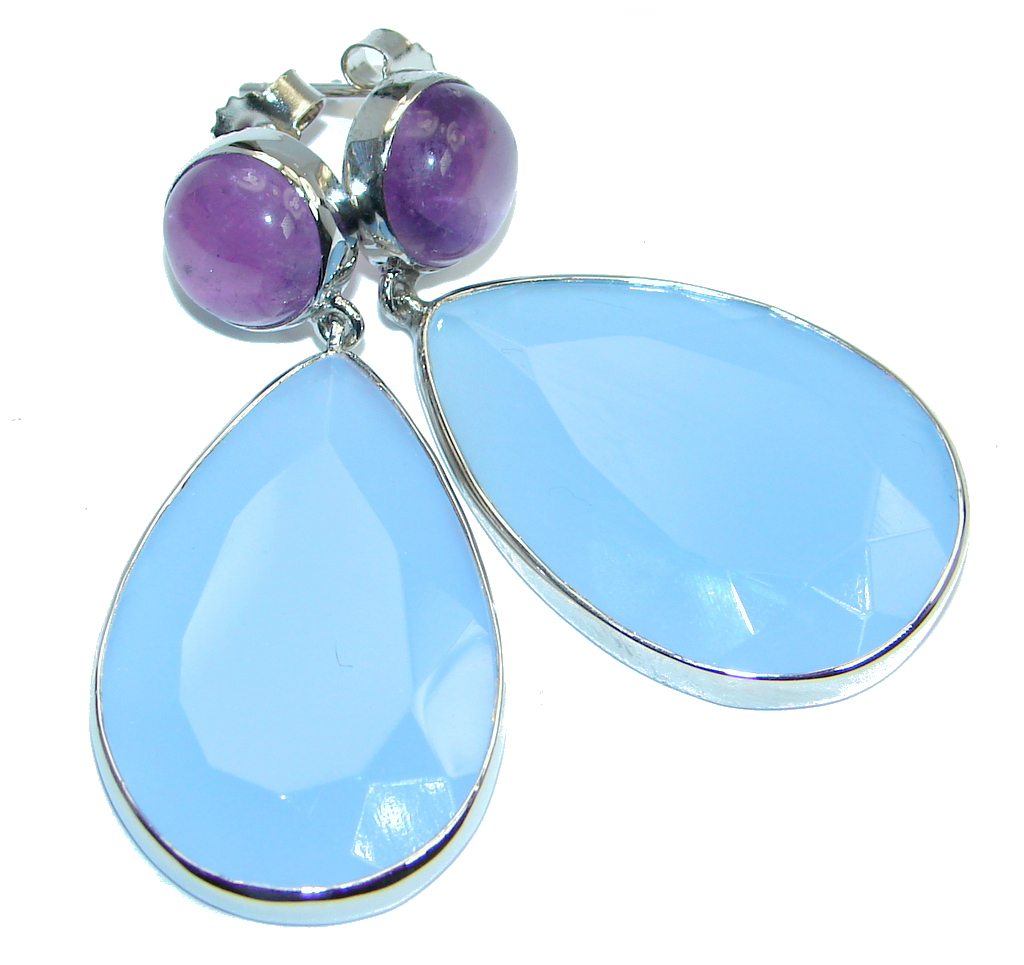 Excellent Chalcedony Agate Amethyst Sterling Silver stud earrings