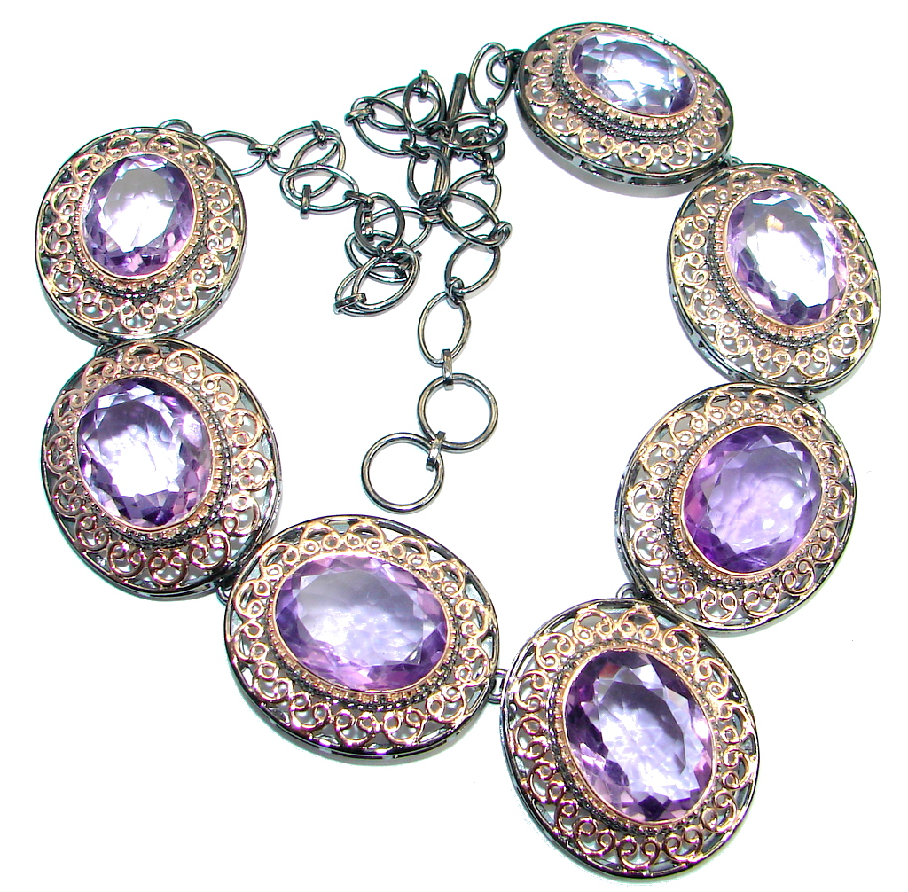 Ultra luxury  natural Amethyst Rose Gold plated over Sterling Silver handmad..