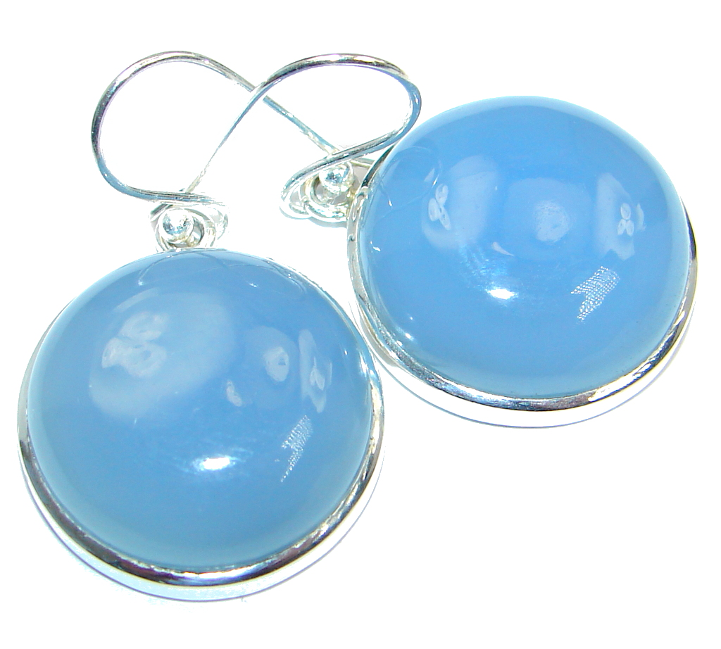 Simple Design excellent Chalcedony Agate Sterling Silver earrings