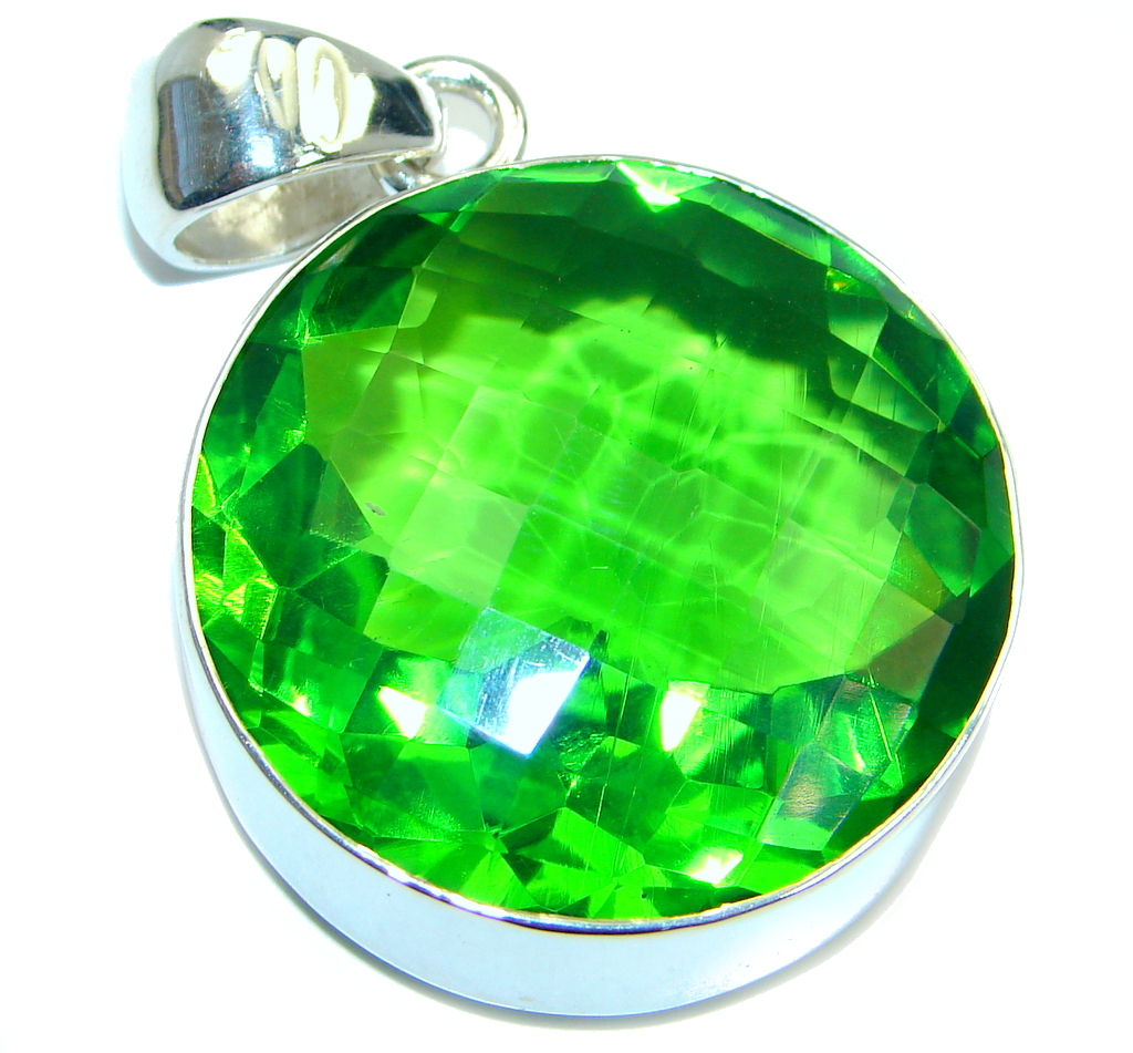 Amazing created Green Emerald color Quartz Sterling Silver Pendant