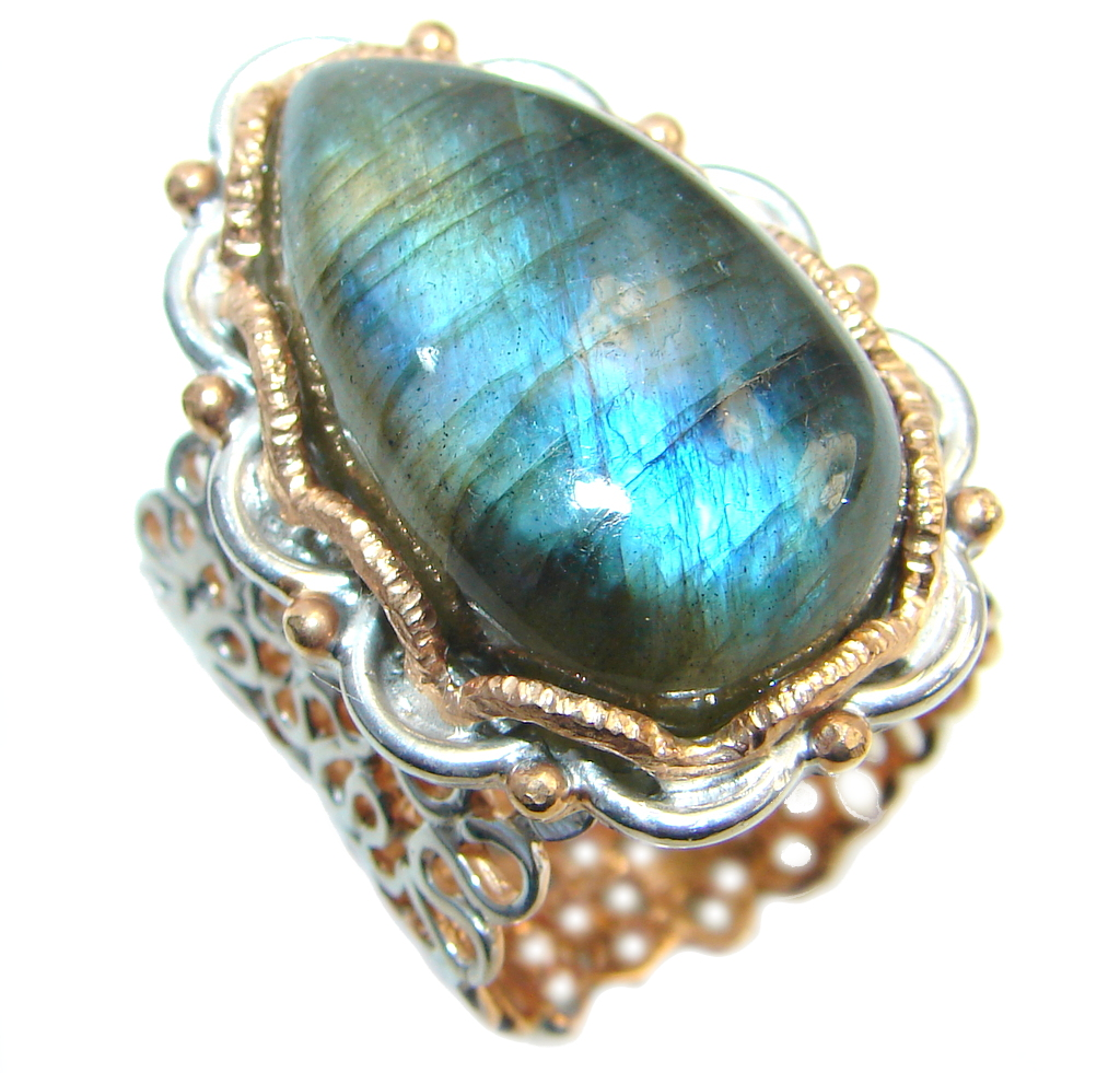 Beautiful Fire Labradorite Two Tones Sterling Silver Ring size 7 1/2