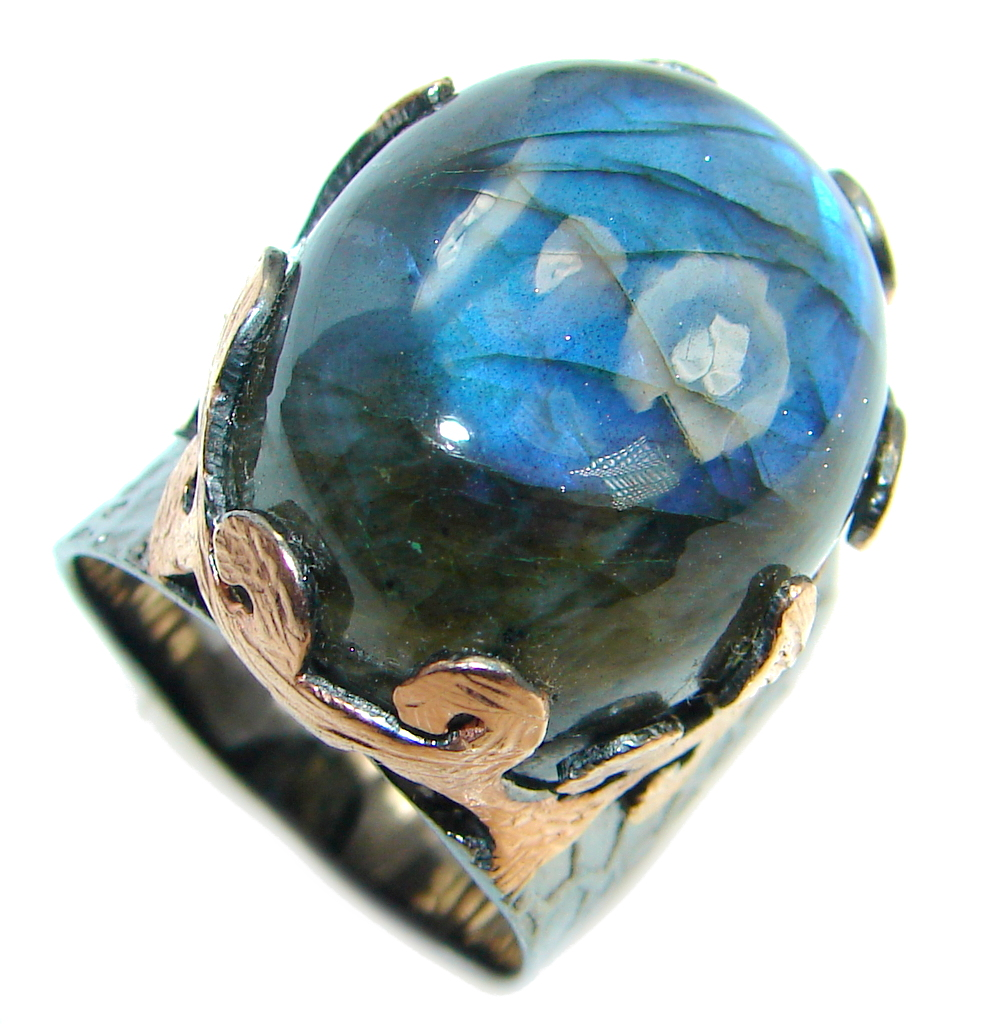 Beautiful Fire Labradorite Rose Gold plated over Sterling Silver Ring size 7