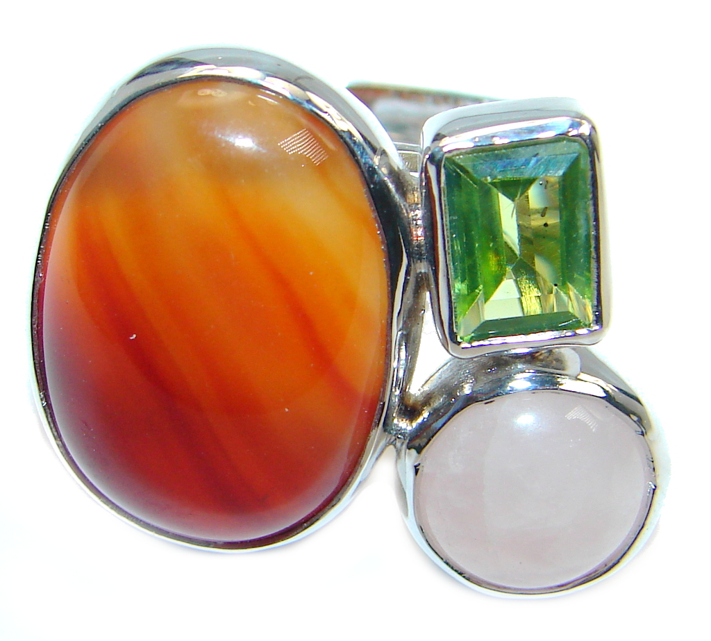 Fresh Green Peridot Carnelian Sterling Silver ring; sizde adjustable