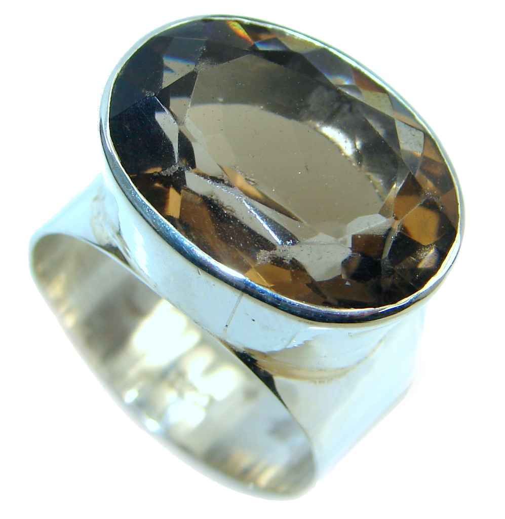 Amazing Smoky Topaz Sterling Silver handmade Ring size 9 3/4
