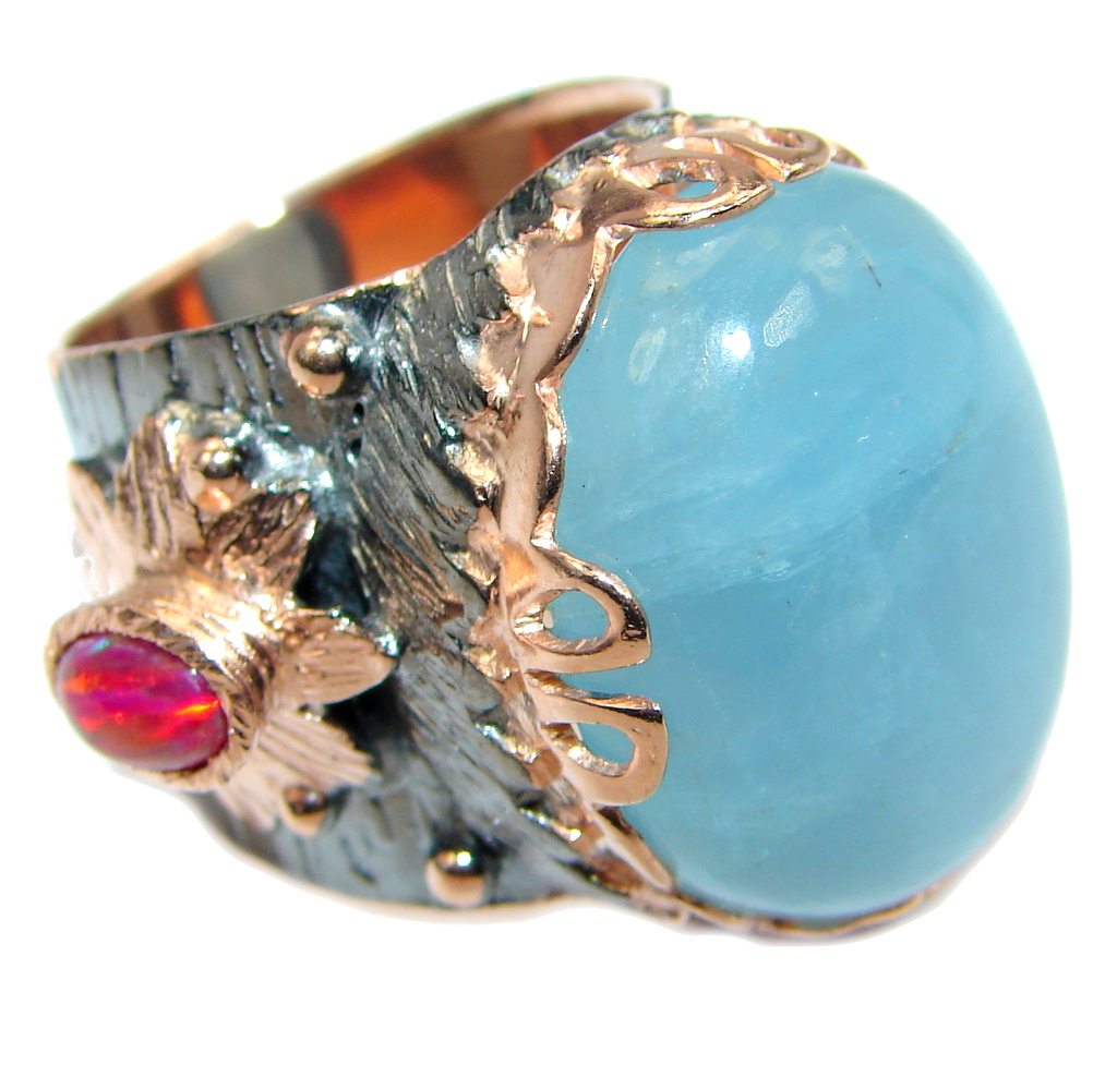 Passiom Fruit Natural 40 ct. Aquamarine Gold Plated over Sterling Silver Ring s. 5 3/4 117644