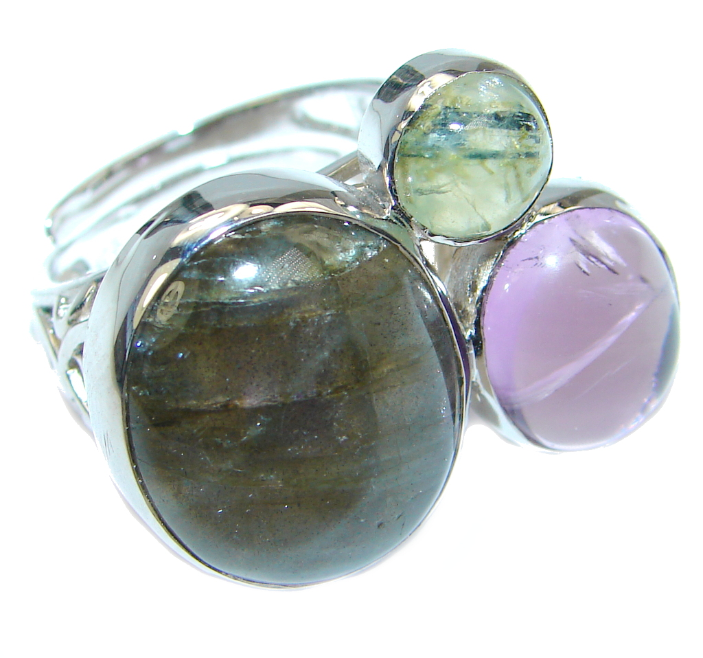 Blue Aura Fire Labradorite Amethyst Prehnite Sterling Silver ring size 7 1/2