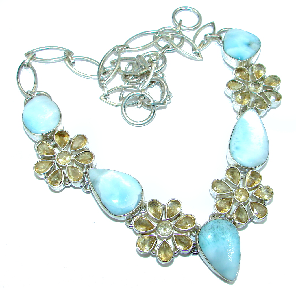 Mega Chunky Larimar Citrine Sterling Silver handcrafted necklace