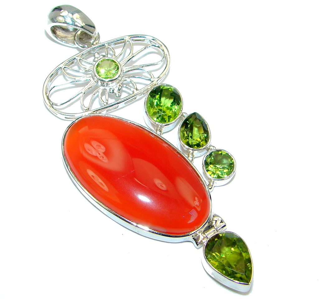 Beautiful authentic Carnelian Peridot Sterling Silver handmade Pendant
