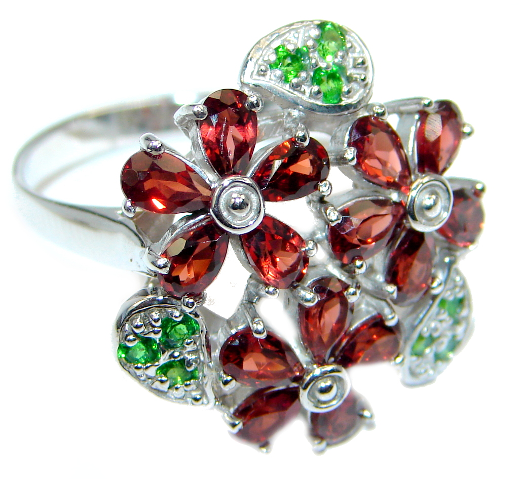 Beauteous Natural Mozambique Garnet Chrome Diopside 925 Sterling Silver Ring 9 1/4