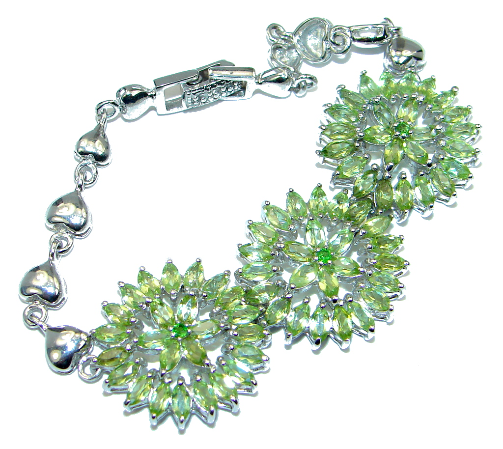 Marquise Top Rich Green Peridot Chrome Diopside 925 Sterling Silver Bracelet 7 1/2