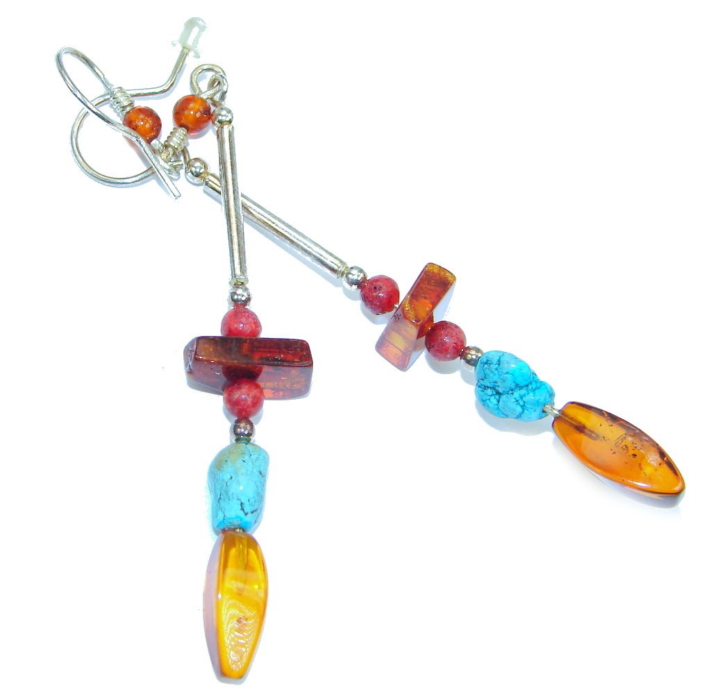 Genuine Long Baltic Polish Amber  Turquoise Sterling Silver Earrings