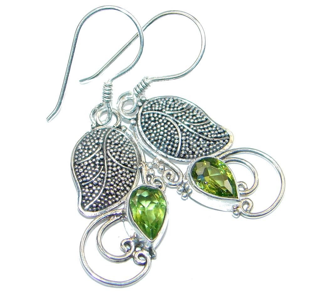Genuine Pearl Peridot Sterling Silver handamde earrings