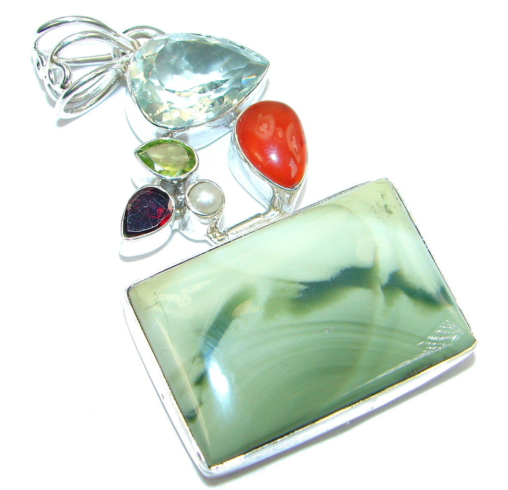 Great quality Imperial Jasper Sterling Silver handmade Pendant