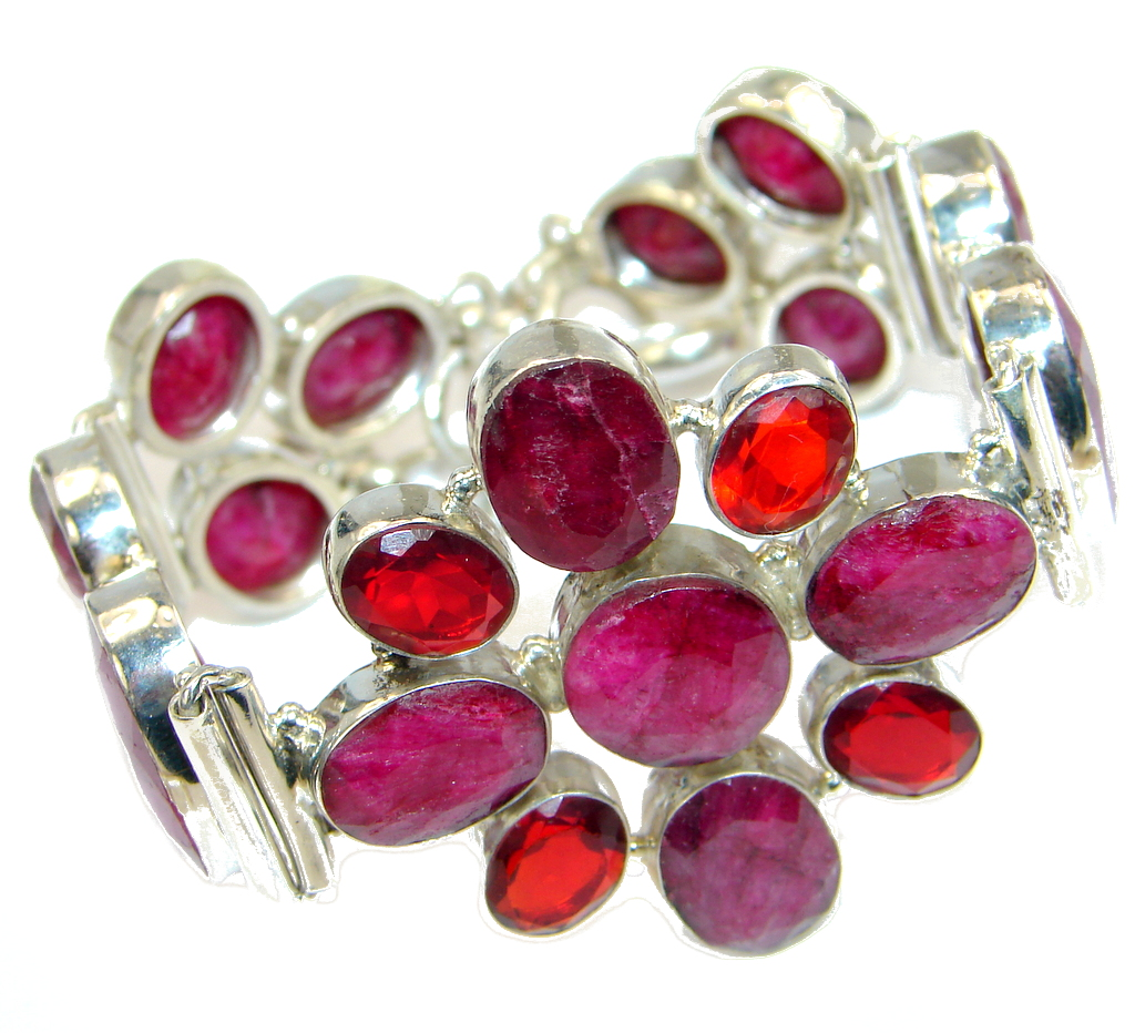Great Red Ruby and Quartz Sterling Silver handmade Bracelet