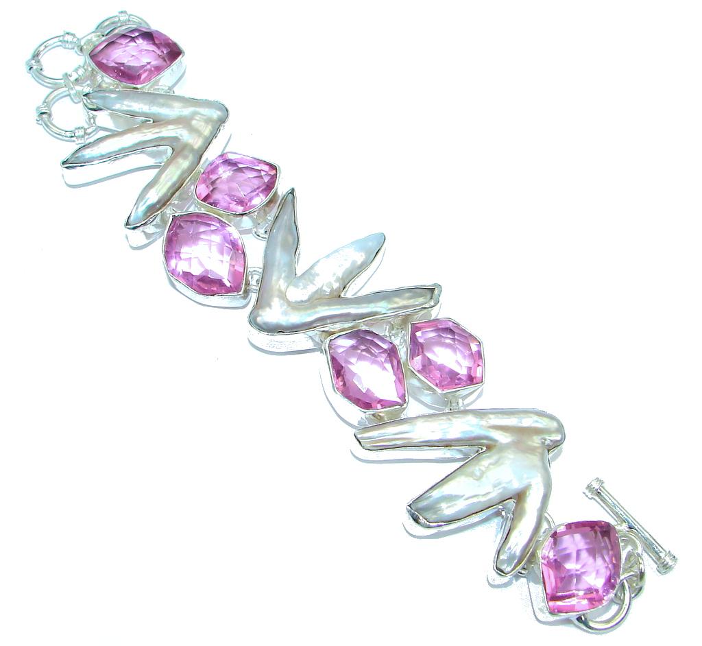 Huge Amazing Mother Of Pearl Pink Quartz Sterling Silver handmade Bracelet