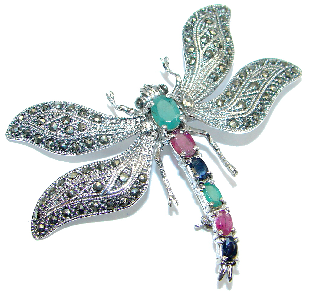 Huge Dragonfly Red Ruby Sapphire Emerald Marcasite 925 Sterling Silver Big B..