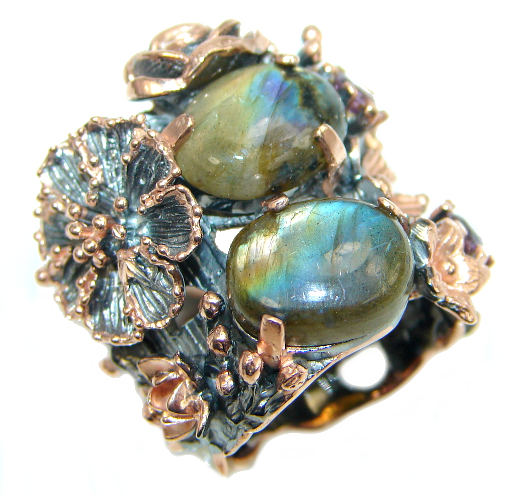 Beautiful Fire Labradorite  Rose Gold plated over  Sterling Silver Ring size..