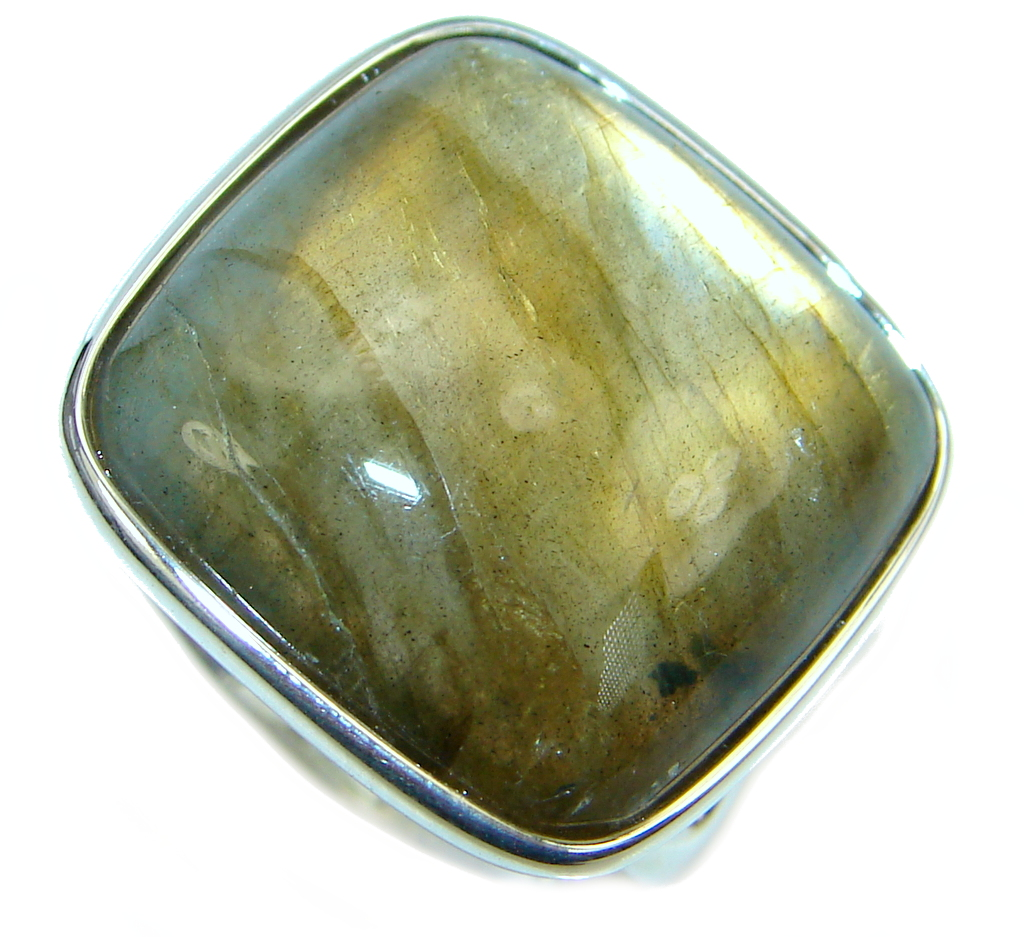 Great Blue Fire Labradorite Sterling Silver Ring size 8 1/2