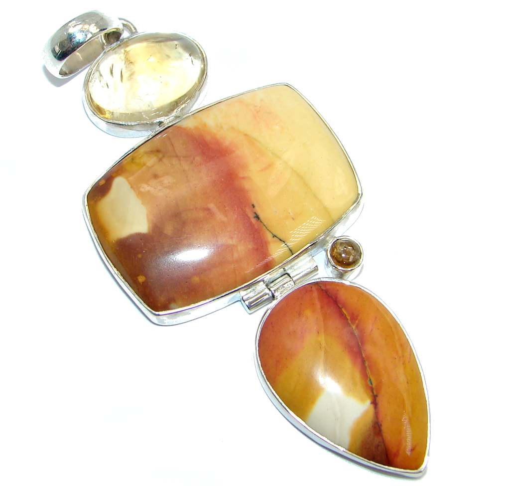 Natural Australian Mookaite Amber Garnet Sterling Silver handcrafted Pendant