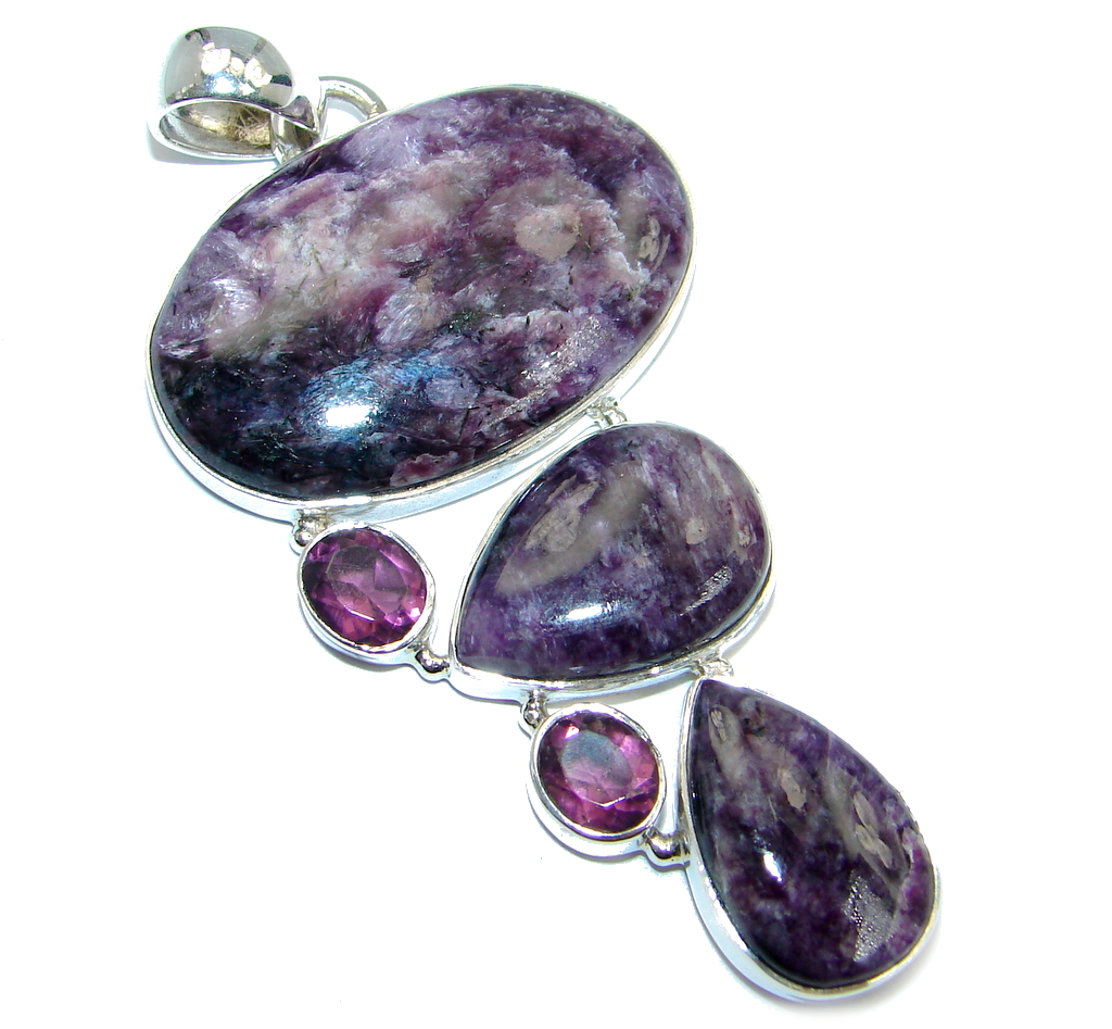 Huge Genuine AAA quality Purple Siberian Charoite Ruby Sterling Silver Pendant