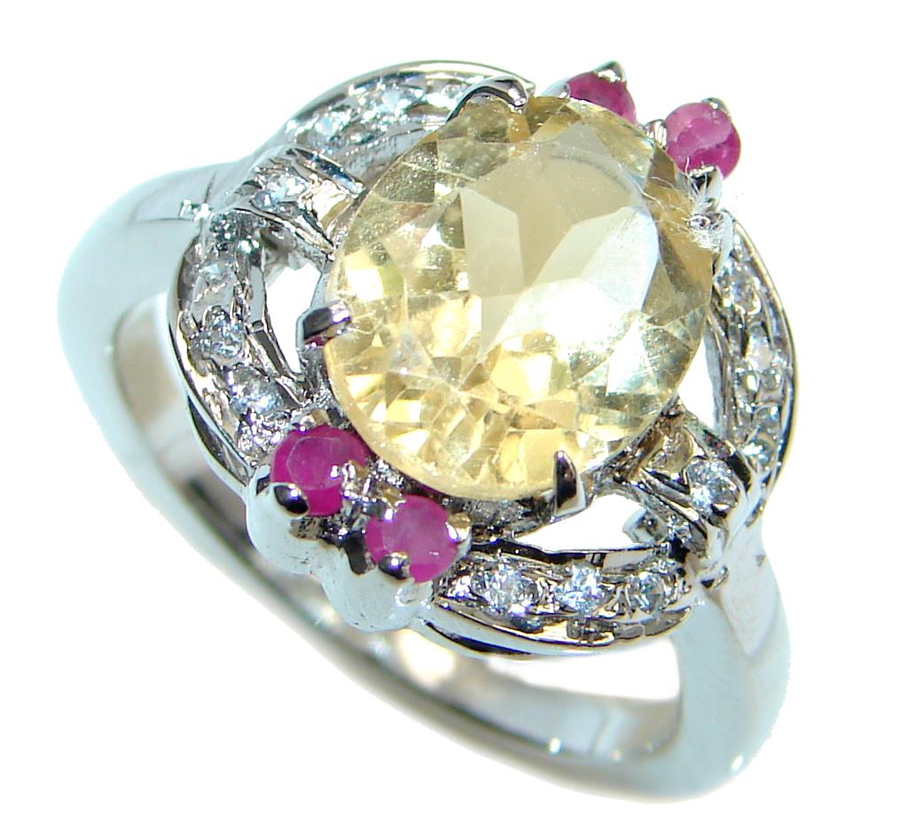 Golden Flower Genuine Citrine Ruby Sterling Silver Ring size 7 1/2