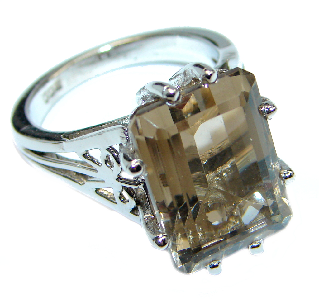 Amazing Smoky Topaz Sterling Silver handmade Ring size 8 1/4