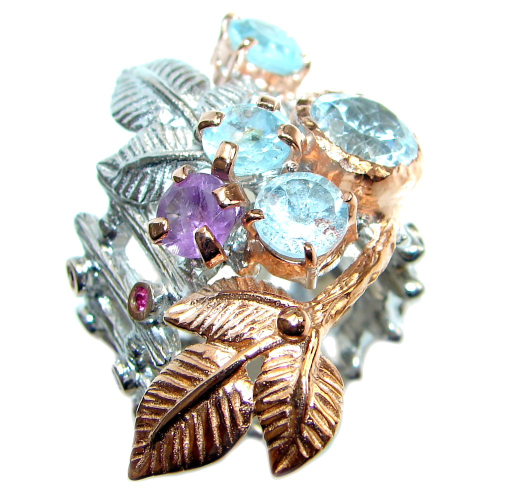 Artisan Design Swiss Blue  Topaz Rose Gold plated over Sterling Silver Ring ..