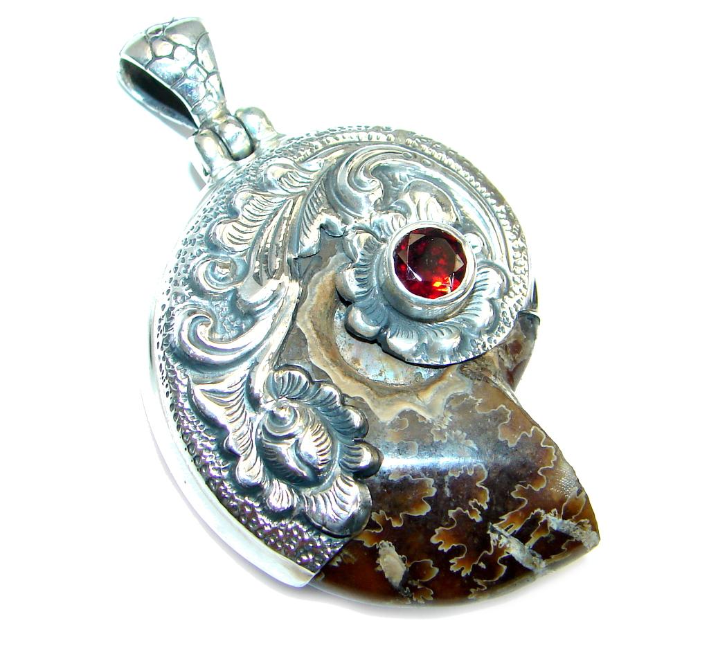 Big Stylish Ammonite Fossil Garnet Sterling Silver handmade Pendant