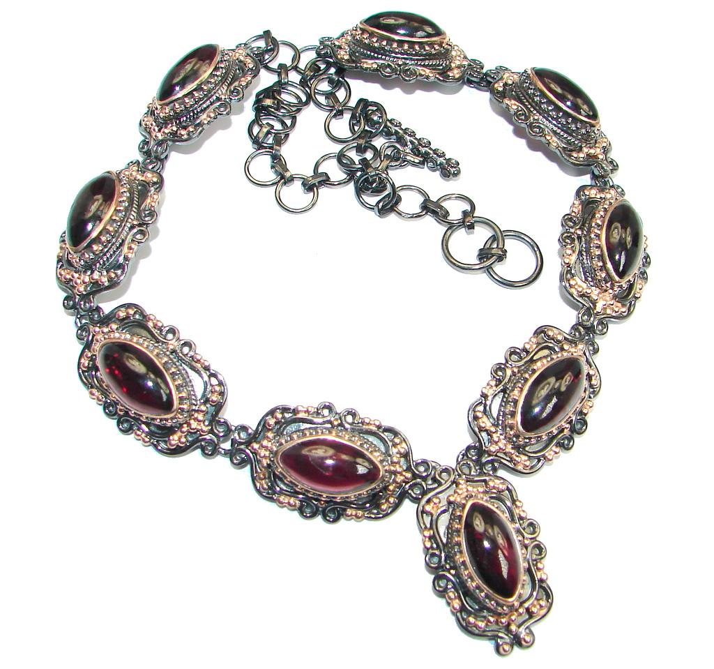 Handmade Natural Rhodolite Garnet Rose Gold plated over 925 Sterling Silver necklace