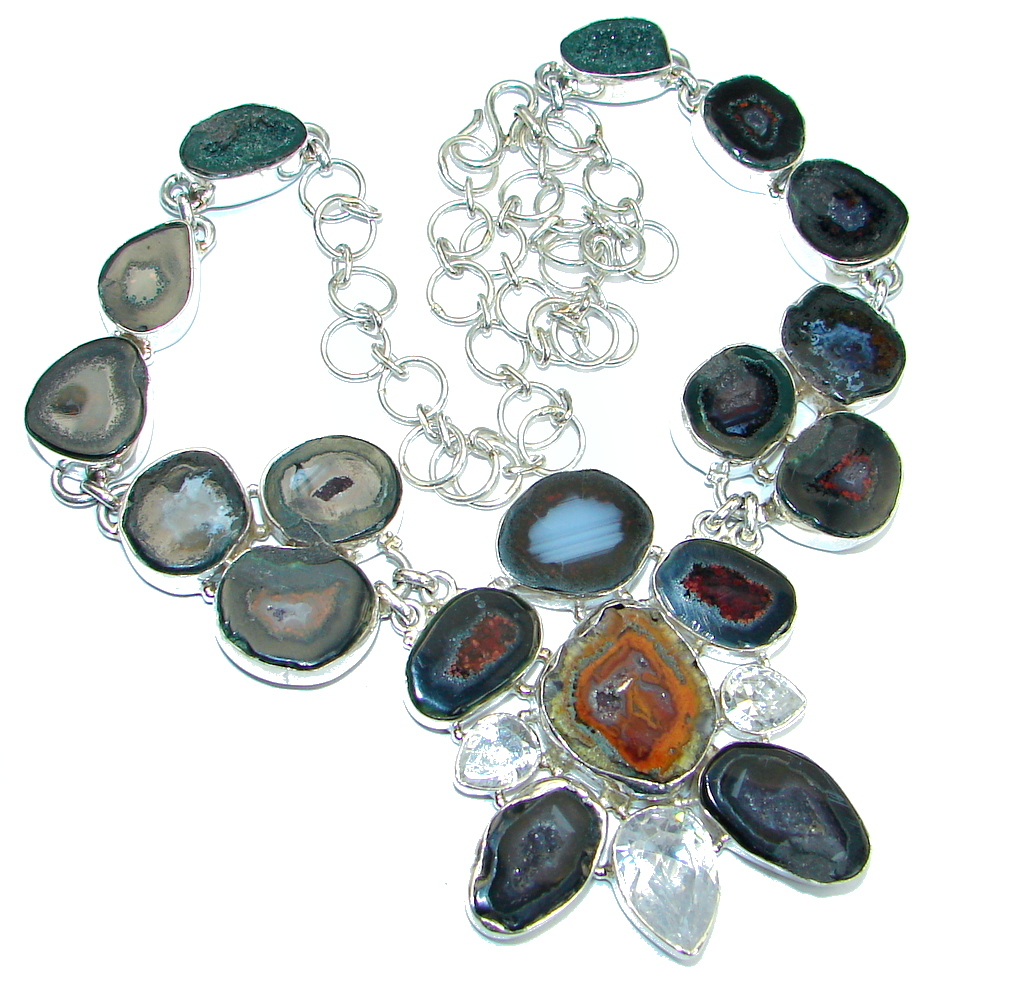 Huge Fashion Agate Druzy Sterling Silver handmade necklace