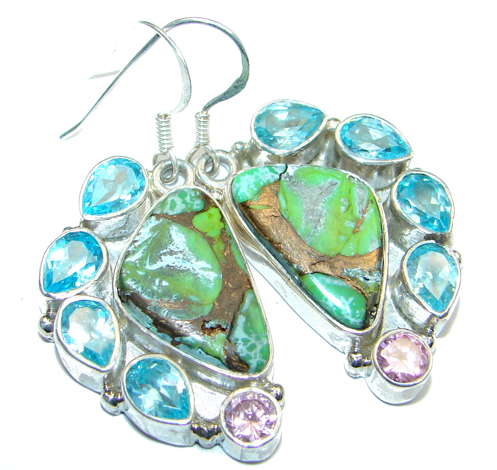 Perfect Green  Turquoise with copper vains Sterling