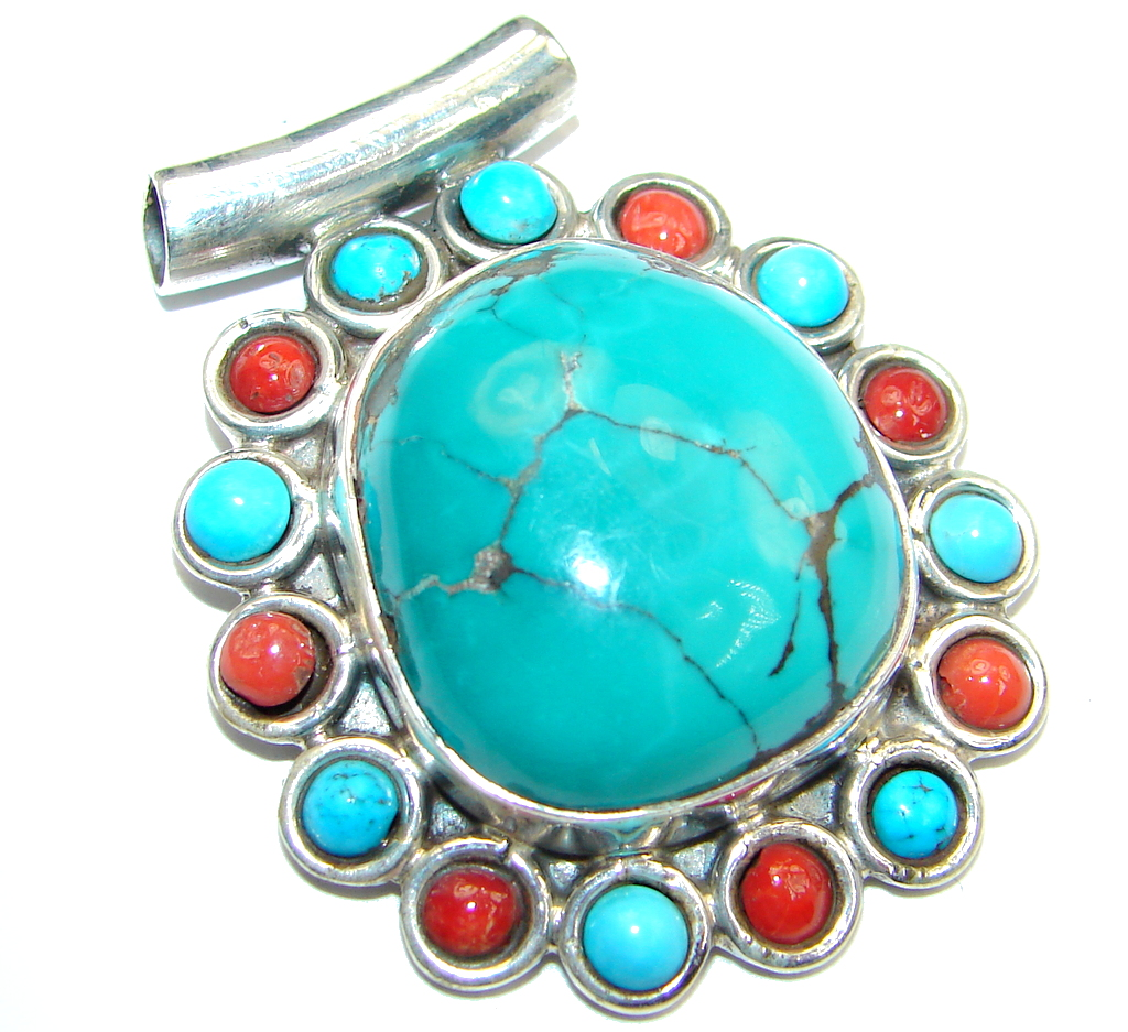 Genuine  Turquoise Coral Sterling Silver handmade Pendant