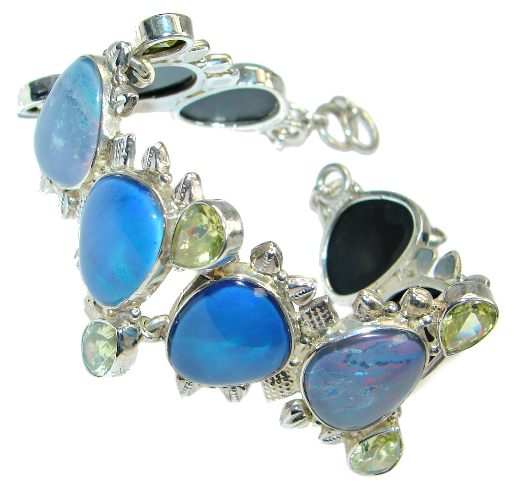 One of the kind created Fire Opal Oxidized Sterling Silver handmade Bracelet