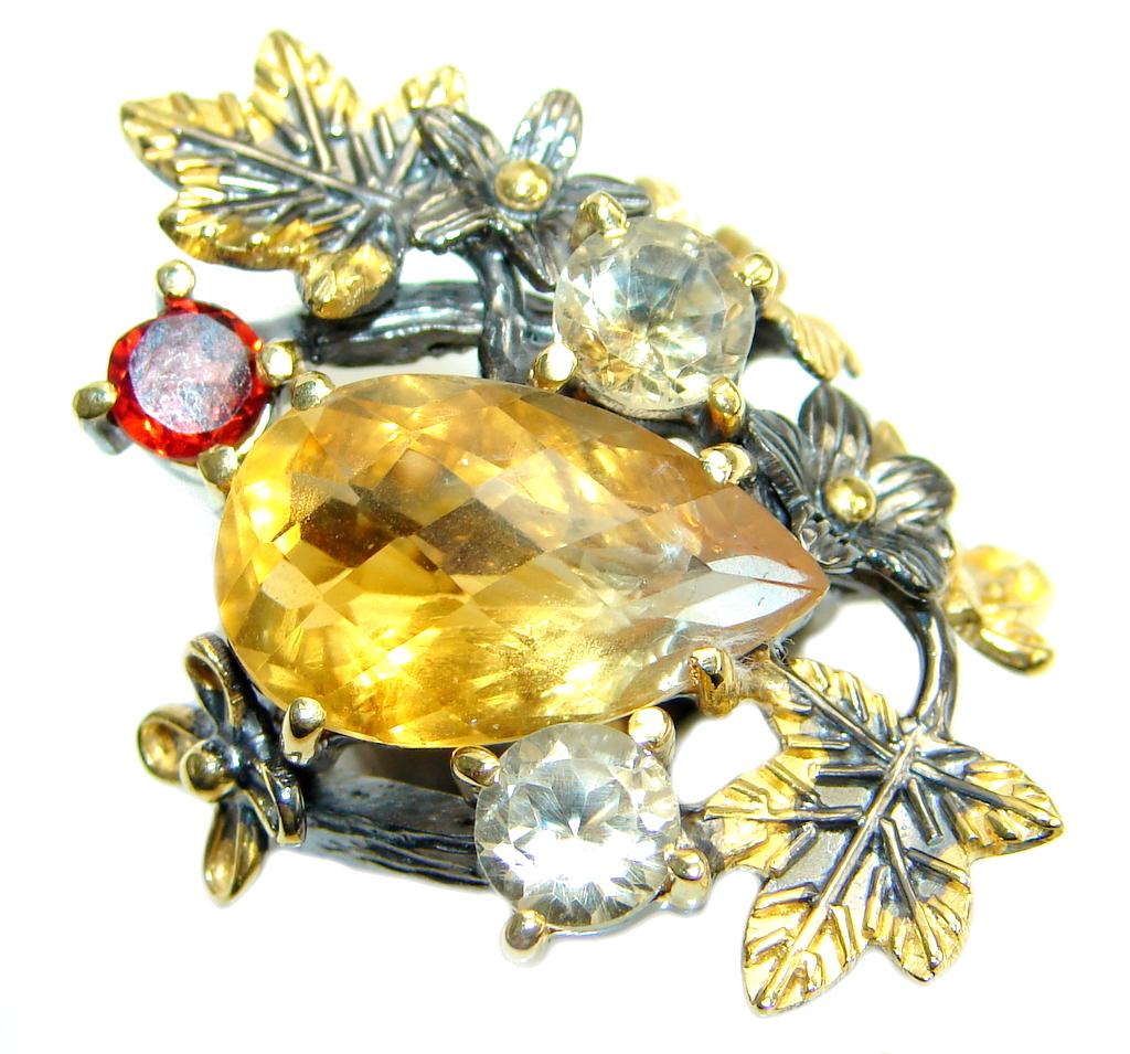 Huge Sublime Lemotrine Garnet 18k. Gold Plated Sterling Silver Ring s. 6