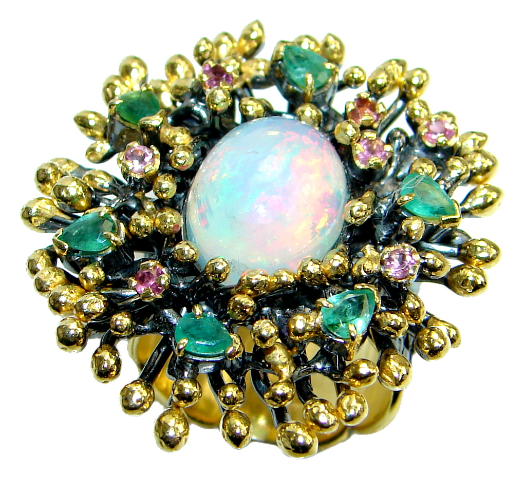 Natural Pink Ethiopian Opal Sapphire Emerald 18ct Gold Rhodium plated over Sterling Silver ring size adjustable