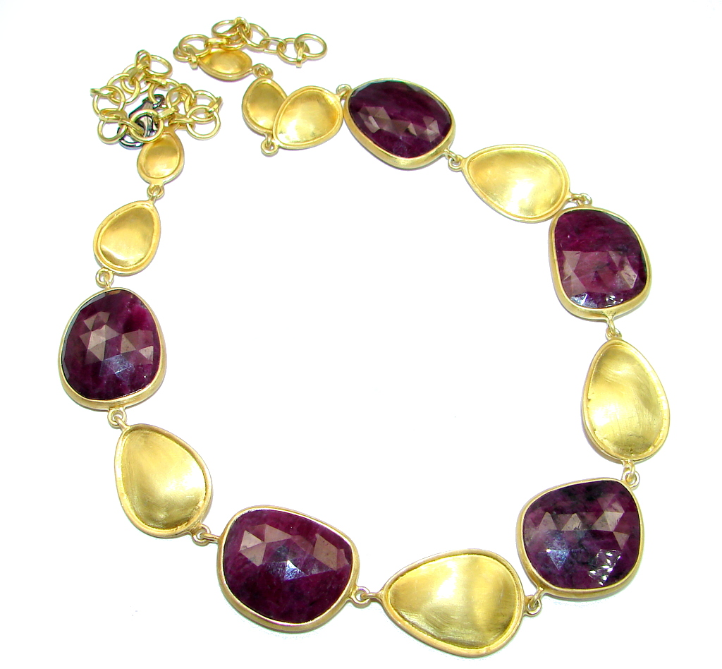Very Elegant natural Ruby Gold over Sterling Silver handmade necklace