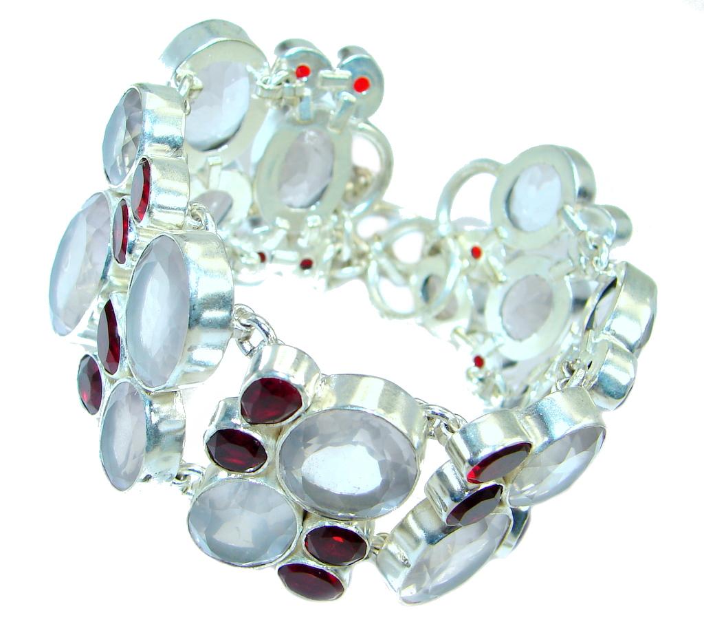 Chunky Aura Of Beauty Rose Quartz Sterling Silver handmade Bracelet