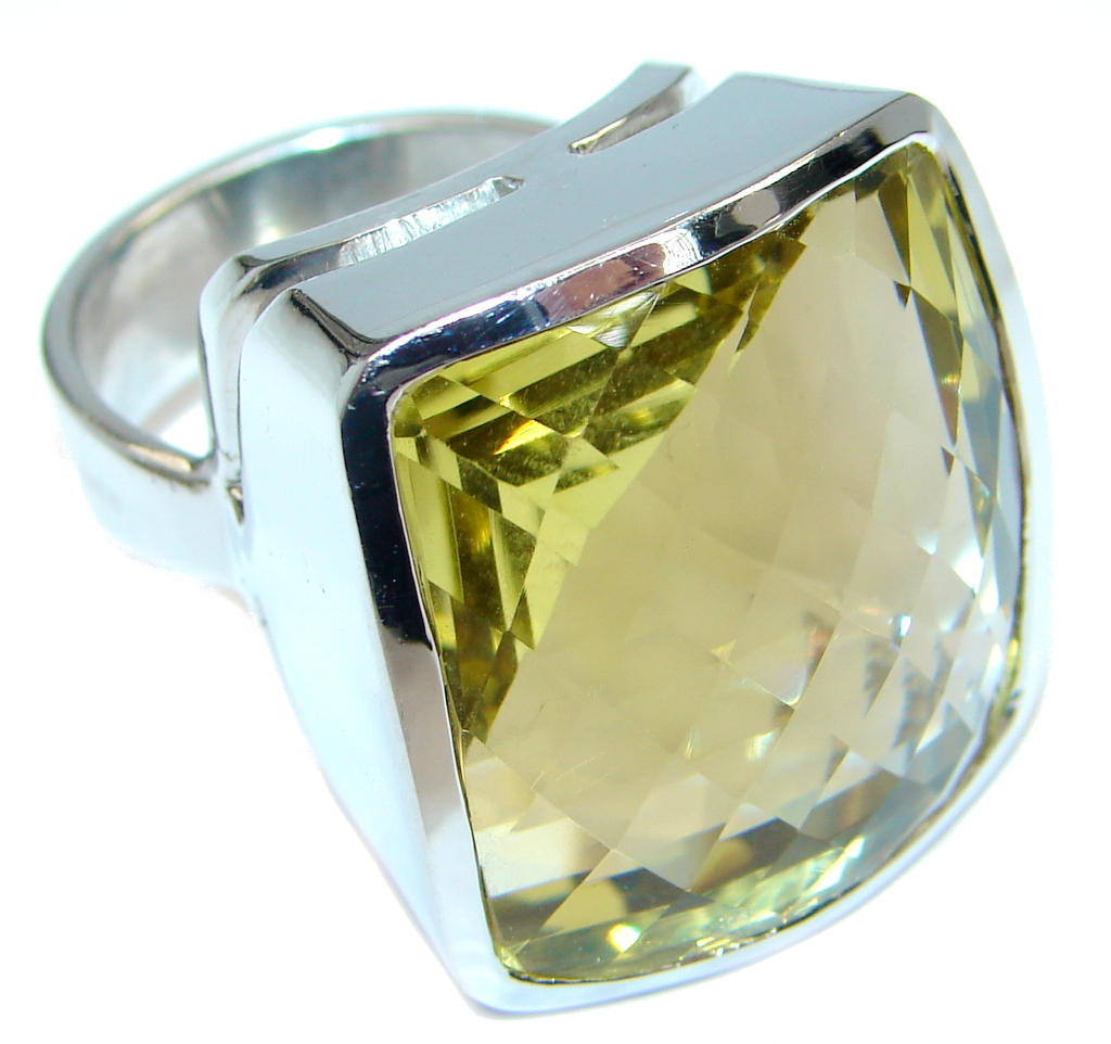 Gaint faceted Natural flawless Citrine Sterling Silver ring size 9