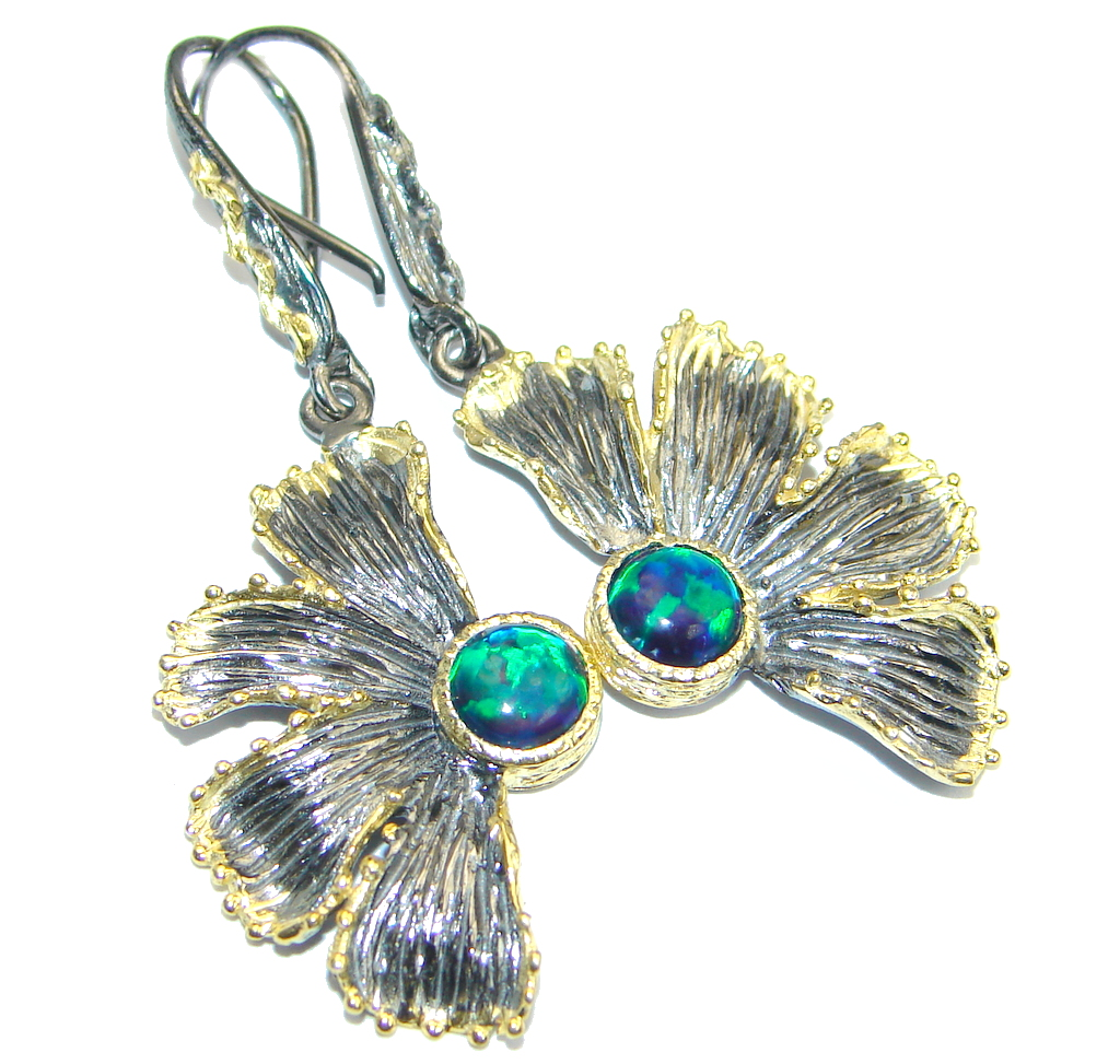 Gorgeous Natural Black Opal Gold plated over 925 Sterling Silver Earrings